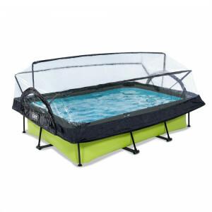 Exit Lime Pool 300x200x65cm mit Abdeckung und Filterpumpe - Grün