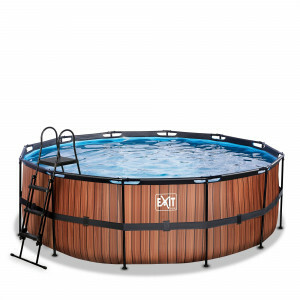 Exit Wood Pool Ø427x122cm mit Filterpumpe - Braun