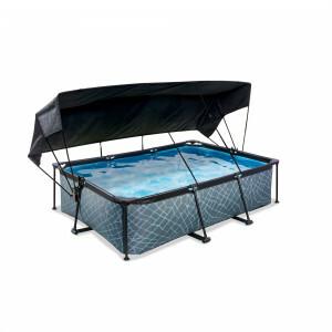 Exit Wood Pool 220x150x65cm mit Sonnensegel und Filterpumpe - Braun