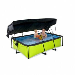 Exit Lime Pool 220x150x65cm mit Sonnensegel und Filterpumpe - Grun