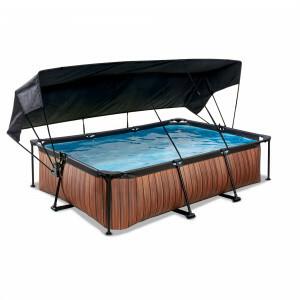 Exit Wood Pool 300x200x65cm mit Sonnensegel und Filterpumpe - Braun