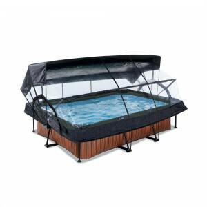 Exit Wood Pool 220x150x65cm mit Abdeckung, Sonnensegel und Filterpumpe - Braun