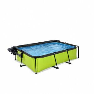 Exit Lime Pool 220x150x65cm mit Abdeckung, Sonnensegel und Filterpumpe - Grun