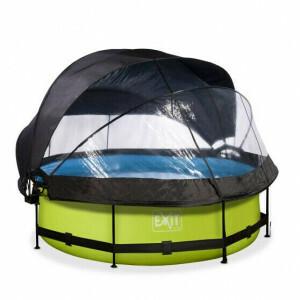 EXIT Lime Pool ø300x76cm mit Abdeckung, Sonnensegel und Filterpumpe - Grun