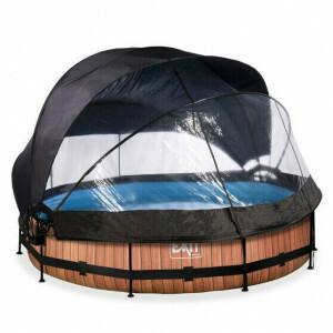 EXIT Wood Pool ø360x76cm mit Abdeckung, Sonnensegel und Filterpumpe - Braun