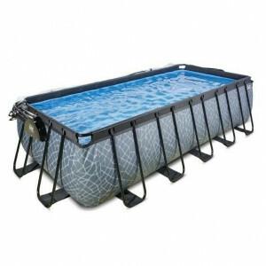 Exit Holzschwimmbad 540x250x122cm mit Abdeckung und Sandfilter und Wärmepumpe - Braun