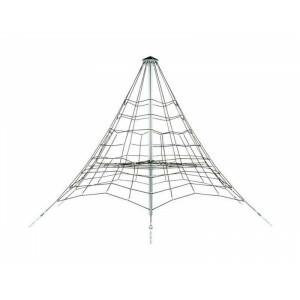 Verstärktes Seilpyramidennetz - 3,5 M - Schwarz / Verzinkt / Schwarz