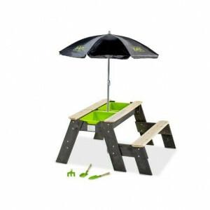 Exit Aksent Sand-, Wasser- und Picknicktisch 1 Bank mit Regenschirm und Gartengeräten