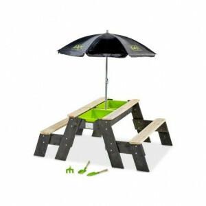 Exit Aksent Sand-, Wasser- und Picknicktisch 2 Bänke mit Sonnenschirm und Gartengeräten