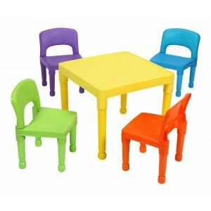 Kinder Mehrfarbiger Tisch & 4 Stühle Set -  (8809N)