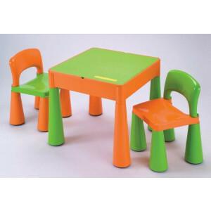 5 in 1 Mehrzweck Aktivität Tisch & 2 Stühle - Orange & Grün -  (899G)