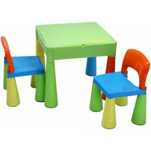 5 in 1 Mehrzweck Aktivität Tisch & 2 Stühle - Bunt -  (899UN)