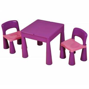 5 in 1 Mehrzweck Aktivität Tisch & 2 Stühle - Lila -  (899V)