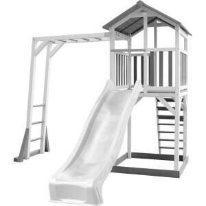 AXI Beach Tower Klettergerüst mit grau / weiß - weißer Rutsche