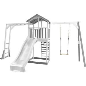 AXI Beach Tower Klettergerüst und Single Swing Grau / Weiß - Weiße Rutsche