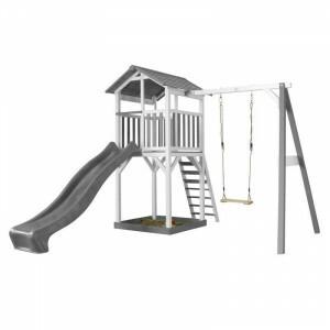 AXI Beach Tower Spielturm mit Single Swing Grey / White - Grey Slide