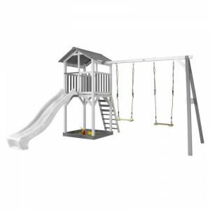 AXI Beach Tower Spielturm mit Double Swing Grey / White - White Slide