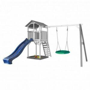 AXI Beach Tower Spielturm mit Summer Nest Swing Grey / White - Blue Slide