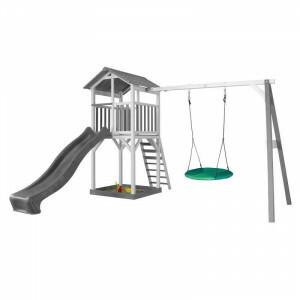 AXI Beach Tower Spielturm mit Summer Nest Swing Grey / White - Grey Slide