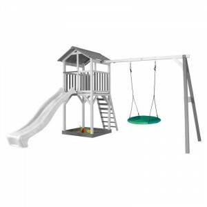 AXI Beach Tower Spielturm mit Summer Nest Swing Grey / White - White Slide