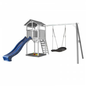 AXI Beach Tower Spielturm mit Roxy Nest Swing Grey / White - Blue Slide