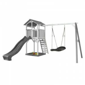 AXI Beach Tower Spielturm mit Roxy Nest Swing Grey / White - Grey Slide
