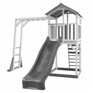 AXI Beach Tower Spielturm mit Klettergerüst Grau / Weiß - Graue Rutsche