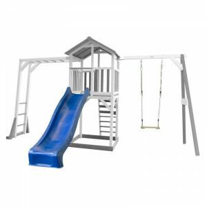 AXI Beach Tower Spielturm mit Klettergerüst und Single Swing Grey / White - Blue Slide