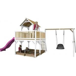 Axi Safari Atka Spielturm Mit Roxy Nest Schaukel Braun / Weiß - Lila Rutsche