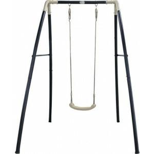 Single Metal Swing Anthrazit, cremefarbener / pulverbeschichteter Stahl, innen und außen verzinkt / 210 X 140 X 217 cm / 5 Jahre Garantie! - AXI (A030.241.00)