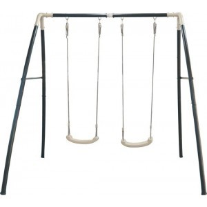 Double Swing Anthrazit, cremefarbener / pulverbeschichteter Stahl, innen und außen verzinkt / 210 X 210 X 217 cm / 5 Jahre Garantie! - AXI (A030.242.00)