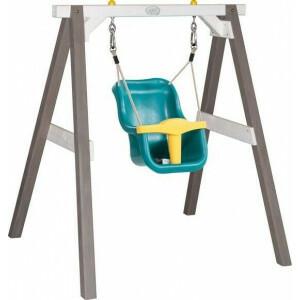 Baby Swing Grau / Weiß mit Sitz / FSC 100% Hemlock Holz / 9 - 36 Monate / 5 Jahre Garantie! / Inklusive 4 Bodenankern - AXI (A030.301.01)