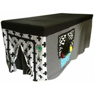 Tischzelt Schwarz-Weiß-Erle (Tischgröße bis 1,5m)