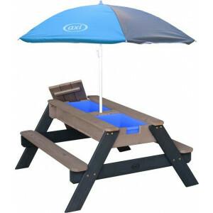 AXI Nick Sand & Wasser Picknicktisch Anthrazit / Grau - Sonnenschirm Grau / Blau - FSC Holz