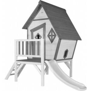AXI Beach Cabin XL Spielhaus Grau / Weiß - Weiße Rutsche