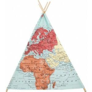 Sunny World Map Tipi Tent Multicolor
