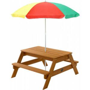 Holz Picknicktisch mit Sonnenschirm - Plum