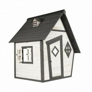 Hölzerne Spielhaus Cabin (grau / weiß) - Sunny