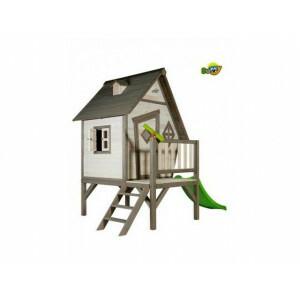 Hölzerne Spielhaus Cabin XL (grau / weiß) - Sunny C050.004.00