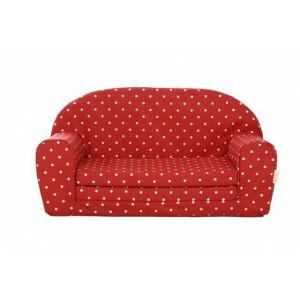Gepetto Kindersofa ausklappbar rot mit weißen Punkten