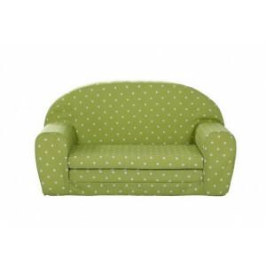 Gepetto Kindersofa ausklappbar grün mit weißen Punkten