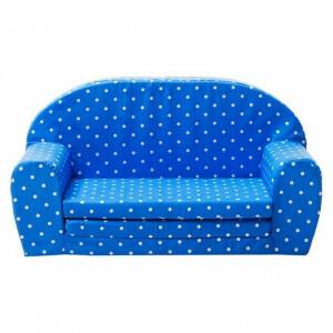Gepetto Kindersofa ausklappbar blau mit weißen Punkten