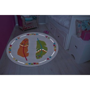 Kinder Teppich Spirit Glowy 3143 Multi Monster Ø 130cm