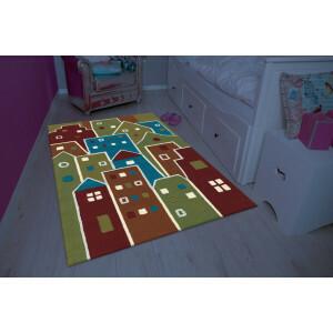 Kinder Teppich Multi Häuser (110 x 160cm)