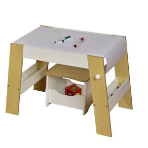 Kinder Spielen Tisch und Hocker - Weiss und Kiefer