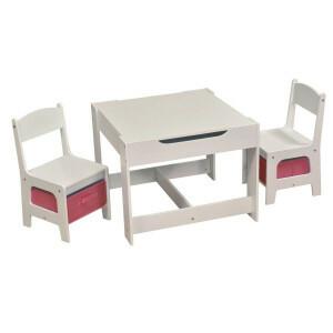Weisses Tisch- und Stuhlset Mit Rosa Behältern