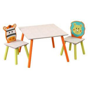 Löwen- und Zebrasafari-tisch und Stuhle