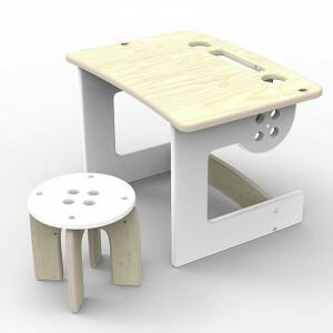 Tisch Mit Hocker Guzik Weiß