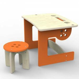 Guzik Tisch Mit Hocker Orange