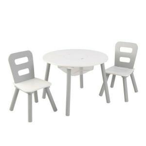Kindersitzgruppe mit Tisch & 2 Stühlen (grau/weiß) - KidKraft (26166)